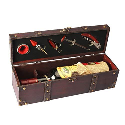 Yobansa Boîte De Rangement De Coffre En Bois Antique, Boîte à Bouteilles De Vin Avec Ensemble D'accessoires Pour Le Vin, Coffret Cadeau De Vin En Bois Bouchon De Vin Verseur De Vin(5 Set)